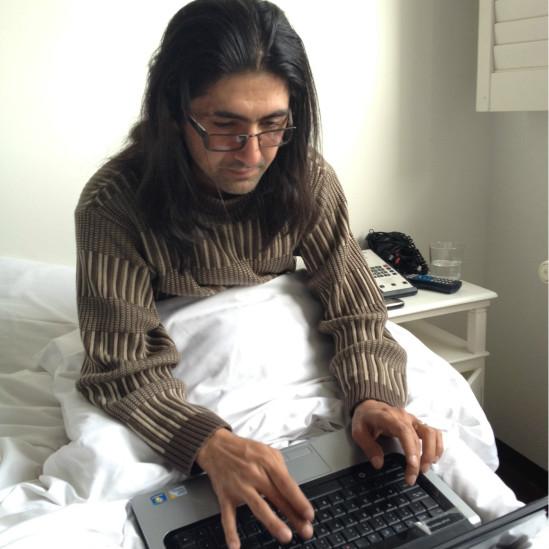 مسعود حسینی برای دریافت جایزه وردپرس فوتو در امستردام