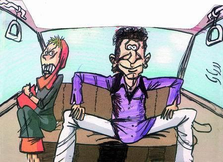 کاریکاتور اجتماعی - طرز نشستن بعضی آقایون تو تاکسی