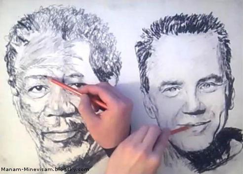 نقاشی با 2 دست