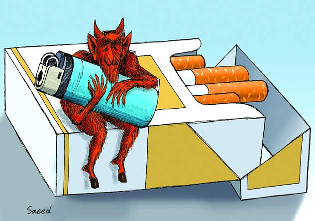 کاریکاتور دخانیات - گرفتن آتش از شیطان