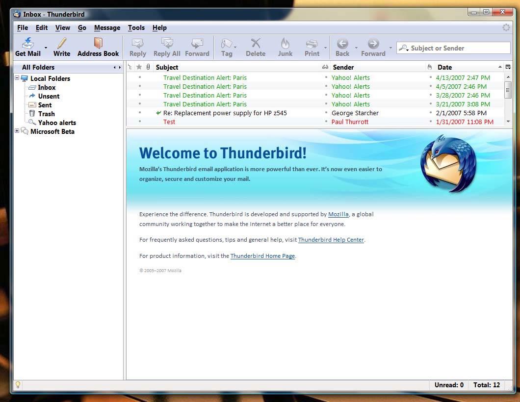 دانلود نرم افزار مدیریت حرفه ای ایمیل ها با Mozilla Thunderbird 14.0 Final