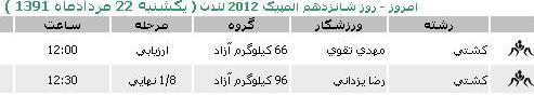 برنامه و زمان مسابقات ورزشکاران ایران در المپیک لندن در روز یکشنبه 22 مرداد