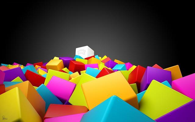 عکس مربع های رنگارنگ سه بعدی