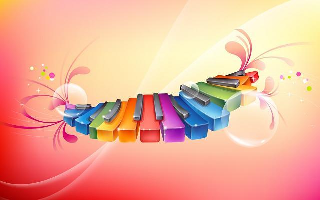 عکس پیانو رنگارنگ