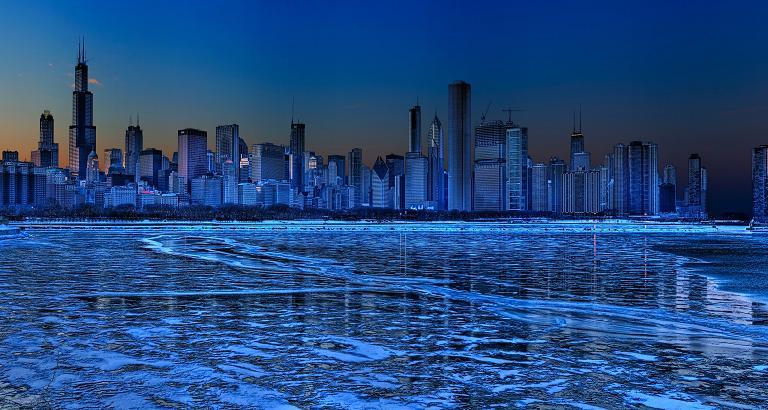 عکس شیکاگو در شب تاریک