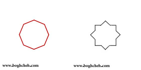 تاتو ستاره هشت پر هندسه نقوش ( رسم هشت ضلعی و شمسه ) | فن و هنر ایران زمین