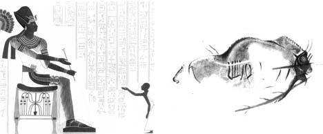 نقش گاو وحشی سی هزار ساله سمت راست، بر بدنه غار مارولاس در جنوب فرانسه و کتیبه بیش از سه هزار ساله رامسس دوم سازنده اهرام، در سمت چپ تصویر ، نقر بر سنگ