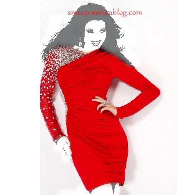 مدل لباس کوتاه شب قرمز
