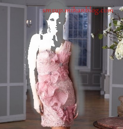 مدل لباس شب کوتاه صورتی