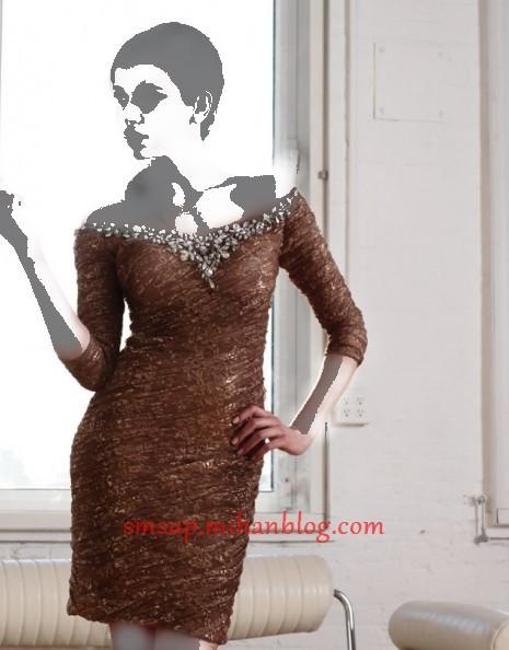 مدل لباس مجلسی با رنگ قهوه ای