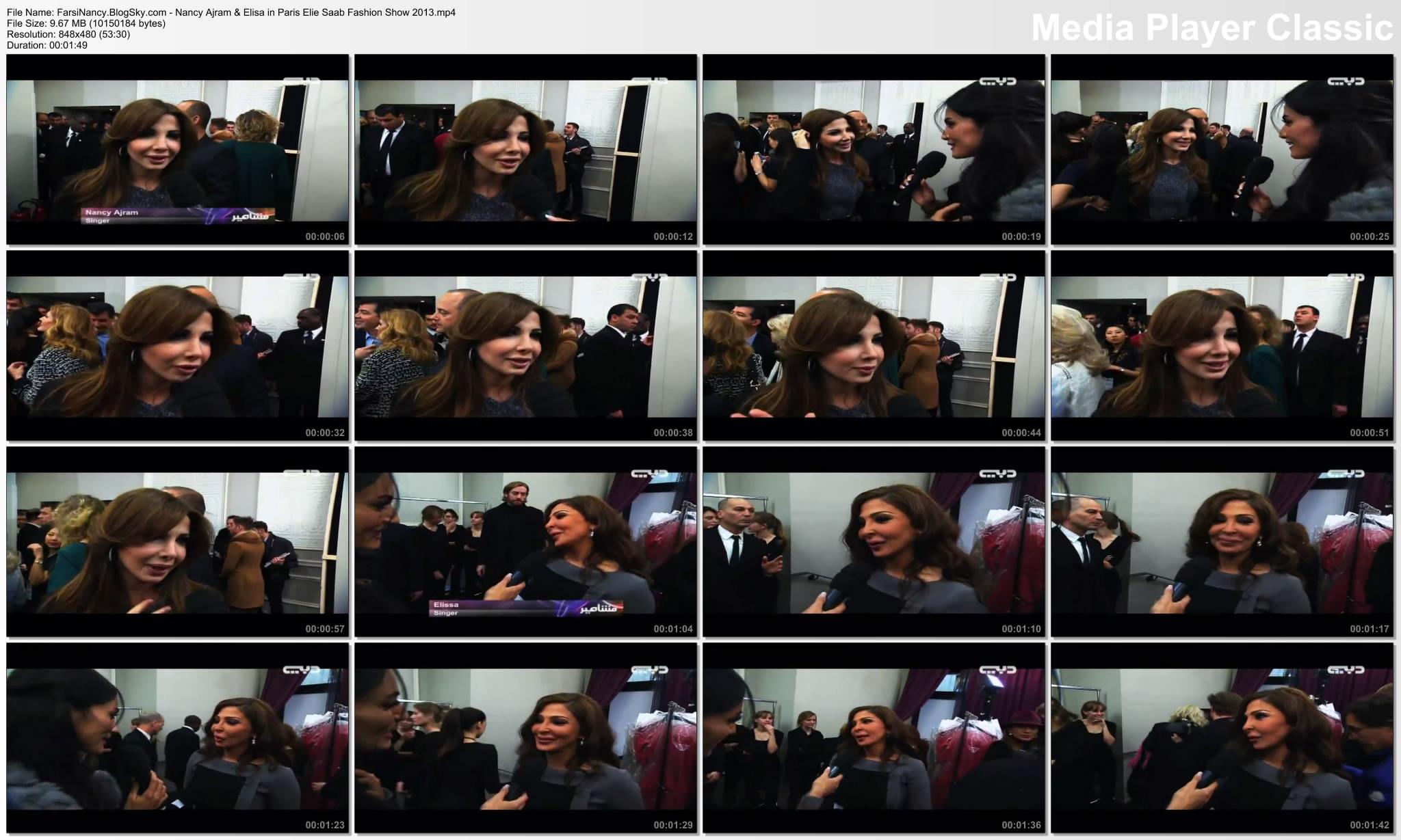 دانلود ویدیو مصاحبه ی نانسی عجرم در شو لباس Nancy Ajram & Elisa in Paris Elie Saab Fashion Show 2013