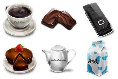 آیکون های خوراکی چایی کیک موبایل برای هدر بنر و لوگو