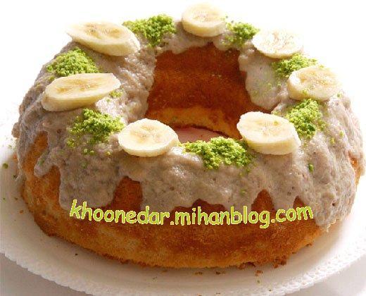 کیک وانیلی با سس موز