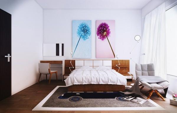 طراحی اتاق خواب با دکوراسیون به سبک معاصر