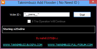 ادد فلودر بدون نیاز به ایدی فلود=TAKNIMBUZZ ADD FLOODER 111111112
