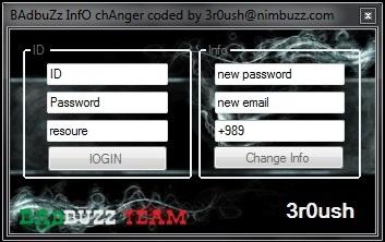 BAdbuZz InfO chAnger coded by 3r0ush@nimbuzz.com SCREEN