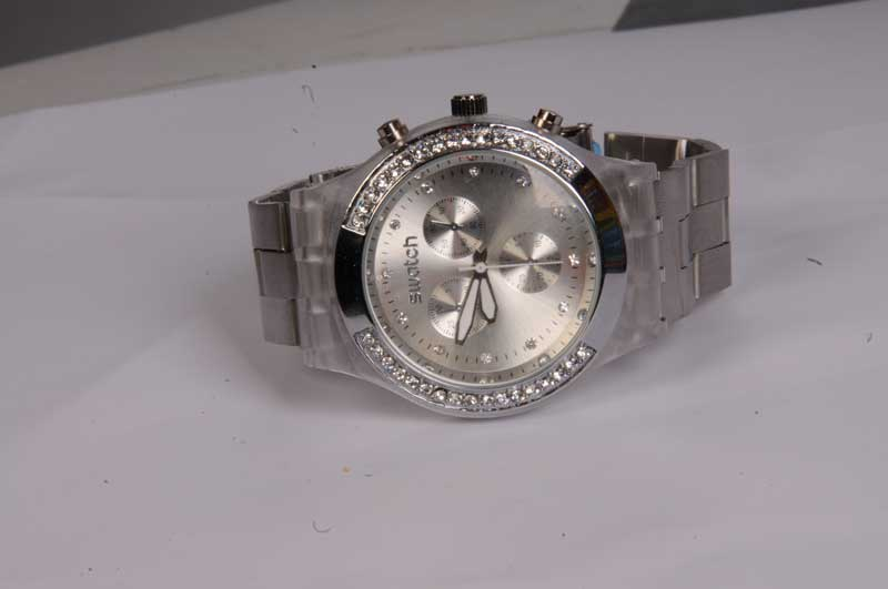 خرید ساعت سواچ نگین دار نقره ای