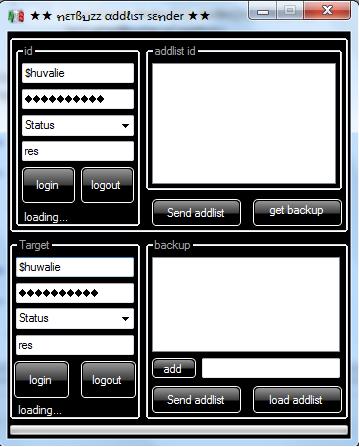 Netbuzz addlist sender and backup coded by $huvalie@n.c Addse