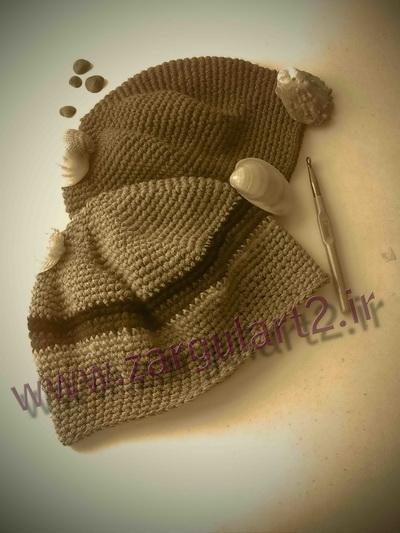 کلاه قلاب بافی مردانه،سیاه وسفید