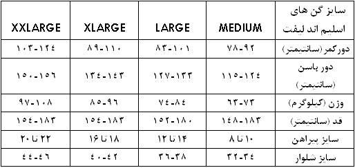 جدول سایز بندی گن لاغری زنانه
