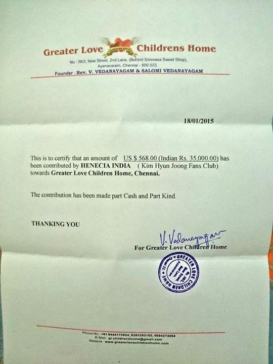 Henecia India - We Havee Also Delivered The Certificate of Our Charity Event Hope For Children to Jaskal,Ilsan