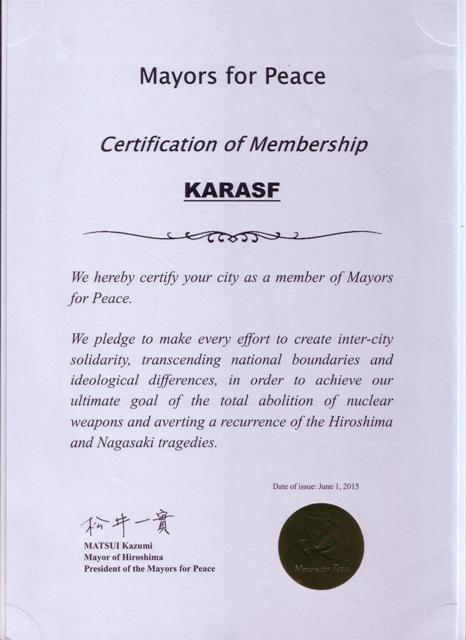 عضویت شهردار کرسف درسازمان بین المللی شهرداران صلح