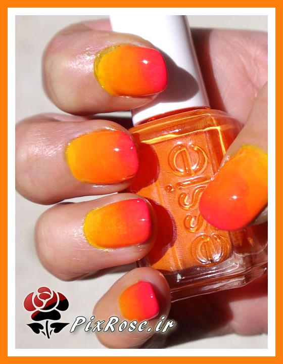طراحی ناخن نارنجی
