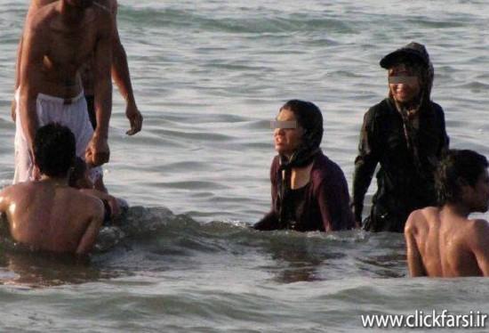 زنان بی حجاب در ساحل و دریا