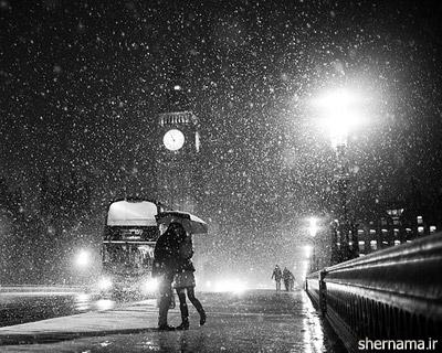 عاشقانه زیبا زیر برف