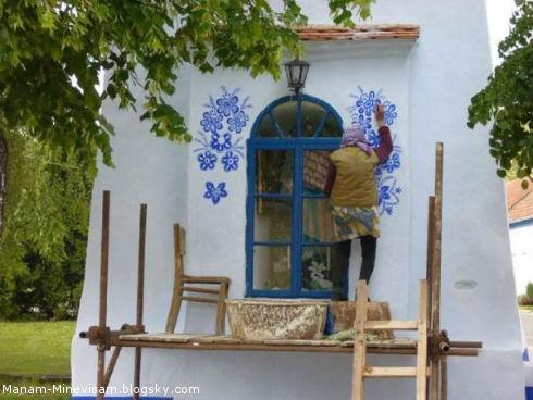 علاقه زیاد یک پیرزن 87 ساله به نقاشی ساختمان