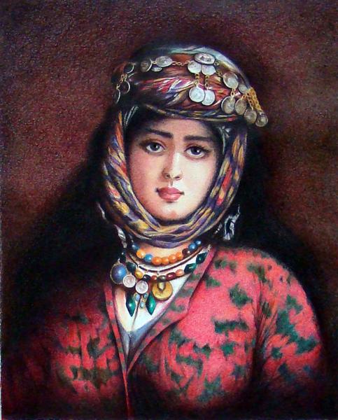 تابلو نقاشی خانمی با لباس محلی