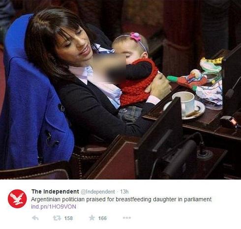 شیر دادن نماینده مجلس به نوزادش در جلسه + عکس , اخبار گوناگون