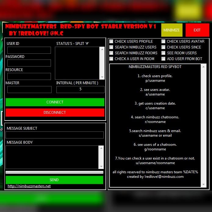 NBM™: NimbuzzMasters redspy Bot stable version 1 Myredbot
