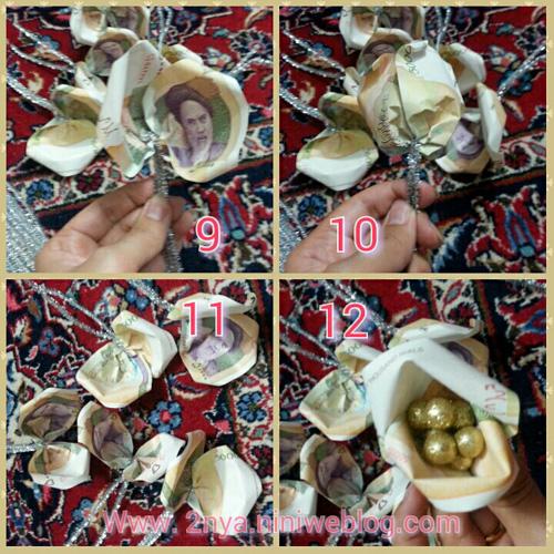 How_to_make_money_origami_flowers_rose_dollar_bill_origami_butterfly_step_by_step_Gift_Boxes دسته گلی از اسکناس، هدیه ازدواج حلماگلی به عمومحمد چطور گل رز با پول بسازیم اوریگامی