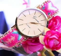 ساعت مچی دستبندی رنگی دخترانه  بافتنی روژین