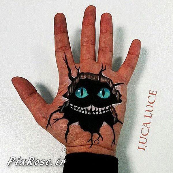 نقاشی های سه بعدی بر روی کف دست,نقاشی روی بدن,نقاشی روی دست,تتو بدن,عکس هایی جالب از نقاشی سه بعدی در کف دست,نقاشي,هنرمند,نقاشي هاي سه بعدي,هنرمند ايتاليائي
