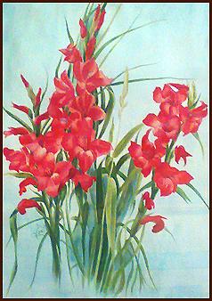 تابلو نقاشی گلهای گلایل