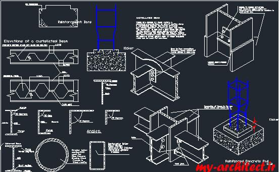 جزئیات دوبعدی و سه بعدی سازه فلزی - من و تو معمارجزئیات دوبعدی و سه بعدی سازه فلزی