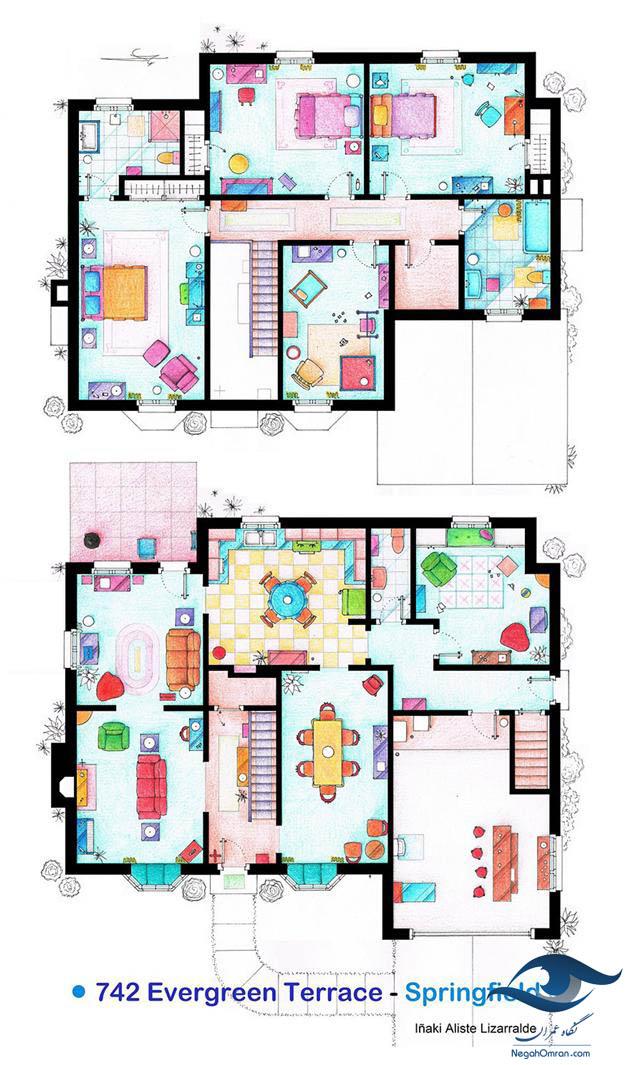 پلان خانه سریال simpson