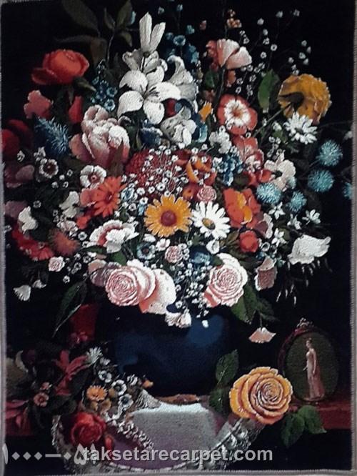 تابلو فرش طرح گل وگلدان