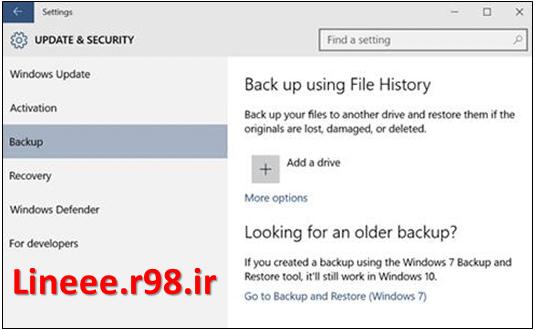 آموزش تصویری فعال کردن File History در ویندوز 10,ویندوز 10,ترفندهای ویندوز 10,اموزش کامل ویندوز 10,lineee.r98.ir,مشکلات ویندوز 10,windows 10,Enable File History in Windows 10