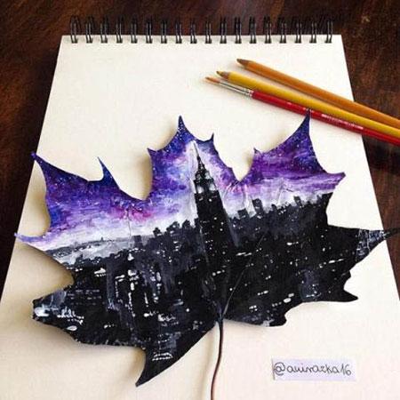 نقاشی روی برگ ها توسط دختر 16ساله لهستانی , جالب و خواندنی