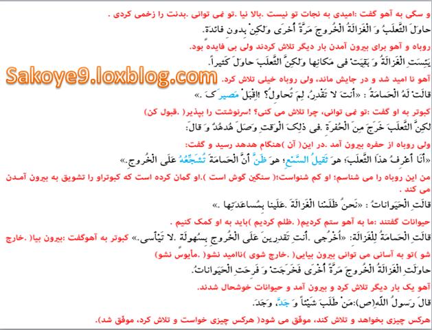 ترجمه متن درس سوم عربی نهمترجمه متن درس 6