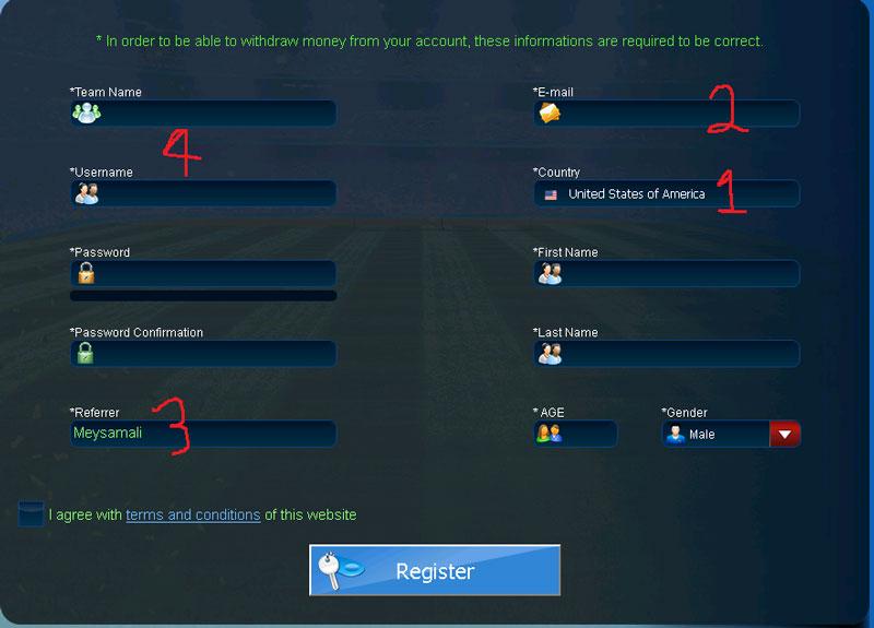 ثبت نام در Goaltycoon