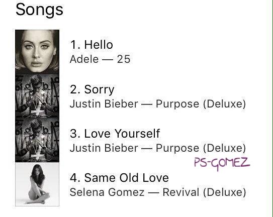آهنگ Same Old Love سلنا گومز در رتبه 4 ایتیونز کشور امریکا