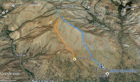 مسیر قله ورجین از لواسان