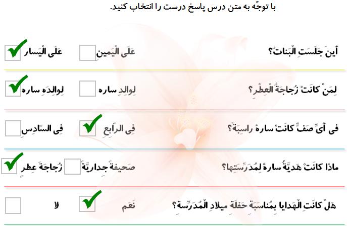 حل تمرین درس دهم عربی دوم دبیرستان