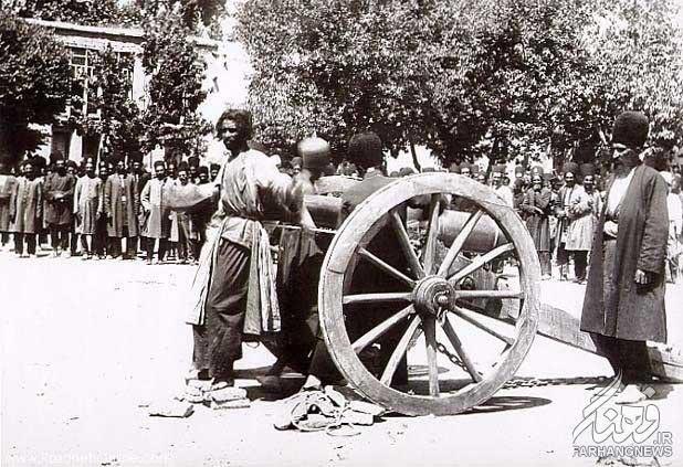به توپ بستن مجرم در زمان قاجار