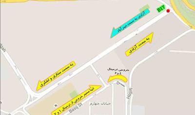 نقشه تابلوهای تبلیغاتی مسیر ورودی از آزادی به سمت مهرآباد