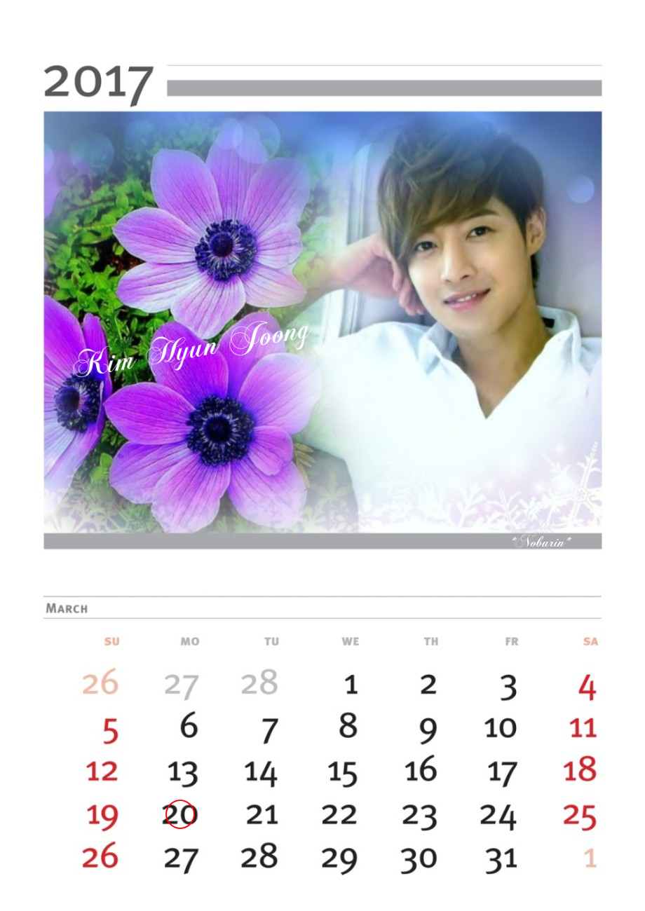 Kim Hyun Joong - Calendar of March 2017